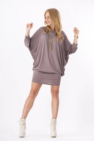Womens Mini Dress Batwing Boat Neck Long Sleeve Tunic Shift Dress Cappuccino-S