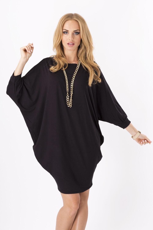 Womens Mini Dress Batwing Boat Neck Long Sleeve Tunic Shift Dress Black-S