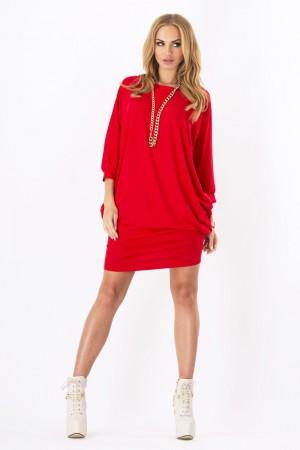 Womens Mini Dress Batwing Boat Neck Long Sleeve Tunic Shift Dress Red-S