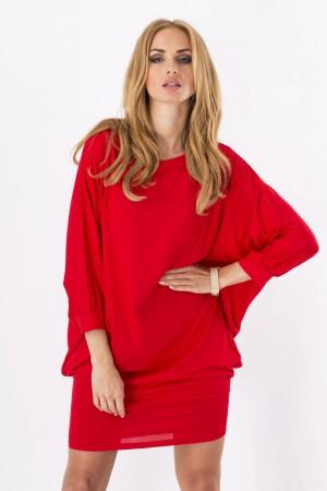 Womens Mini Dress Batwing Boat Neck Long Sleeve Tunic Shift Dress Red-M
