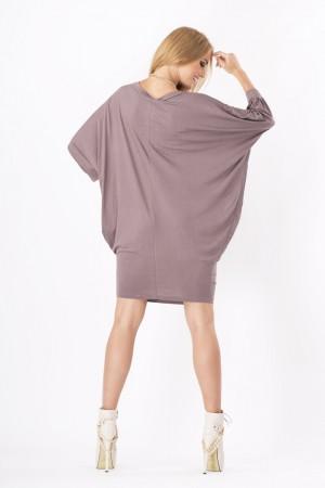 Womens Mini Dress Batwing Boat Neck Long Sleeve Tunic Shift Dress Cappuccino-L